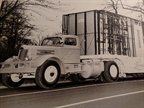 Lustron's fleet included 200 White WC-42s (though the number was probably 160) and 800 custom-made Fruehauf flatbeds with racks and boxes. Vehicles were painted a vivid blue-and-yellow.