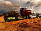 Paramount Pictures Optimus Prime (center) and other members of the