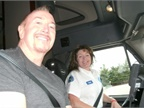 Truck safety advocate Ron Wood rides with veteran Walmart driver Carol Nixon. Photo courtesy Women in Trucking.