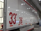 Last year Wabash National displayed a 33-foot pup trailer marked to show its extra capacity over current 28s.  Photo: Tom Berg
