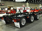 "Two of three modules of a ""3-3-2"" multi-axle configuration were shown by Talbert in its booth at the Louisville show. Missing is the 2-axle ""booster"" that would be attached to the rear."