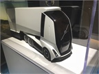 A glimpse of Volvo's work on future transportation technology is apparent in this model of an autonomous concept truck on display at the company's Customer Center in Dublin, VA. Photo: Jack Roberts