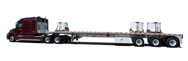 This mockup from Maverick shows how a proposed three-axle, 48-foot flatbed would carry 51,000 pounds on its tridem. AAR doesn't want to see heavier rigs like this allowed on the highways.