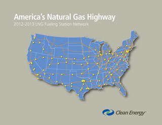Above is a route map showing the initial phase of America's Natural Gas Highway, a network of LNG fueling stations along main trucking corridors being built by Clean Energy. (Photo courtesy of Clean Energy)