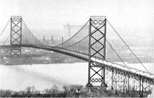 At the time it was built, the Ambassador Bridge was the longest suspension bridge in the world.