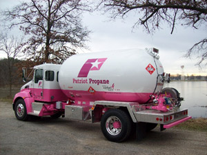 The pink bobtail is equipped with the Blackmer Model TLGLF3C Propane Pump and BV2 Bypass Valve.