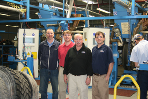 From left to right, Rick, Ryan, Ricky and Jeremy Benton, stand in the company's new retread plant and distribution center in Clarkton, N.C.