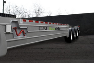 The EcoRide chassis is expected to reduce fuel consumption trucking containers to and from its intermodal terminals by eight to 10 percent.