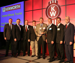 Central Illinois Trucks receives its award at the recent Kenworth Dealing Meeting.
