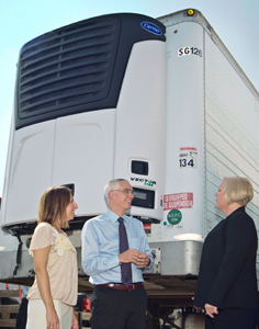 The Vector 5100 units, one of which was showcased at the event Wednesday, provide emissions-free, quiet operation for on-site food storage.
