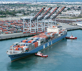 Intermodal containers volume at the ports is up in January, but experts warn maintaining that momentum in 2011 could be difficult.(Photo courtesy Port of Los Angeles)