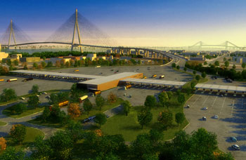 A rendering of the proposed bridge crossing.