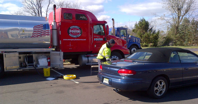 Mobile fueling tankers deliver emergency fuel in New Jersey in the wake of Hurricane Sandy.