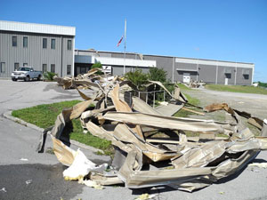 Fontaine Trailer's manufacturing facility in Haleyville, Ala., lost its roof and sustained structural damage in an April 27 tornado. The crumpled metal in the foreground was a portion of the roof.