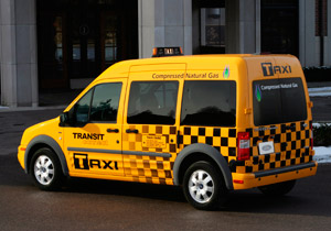 Taxi variant of Ford's Transit Connect van comes to market later this year with optional CNG or propane prep kit. The kits will also be available on truck versions of the compact van.