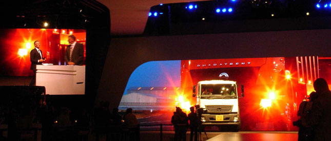 One of nine trucks that rolled through the audience at the Daimler event during Andreas Renschler's presentation. This is the BharatBenz, built in India. Bharat means
