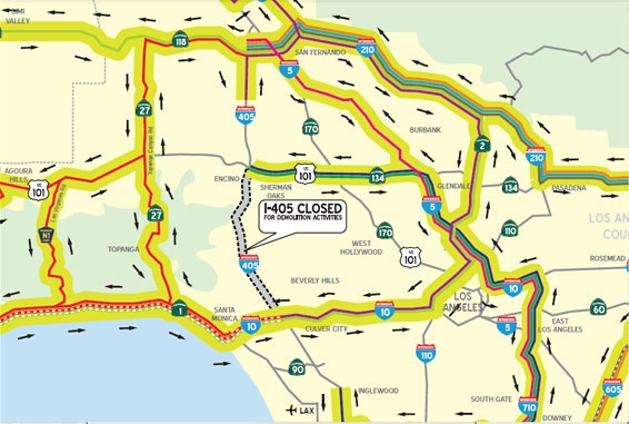 Map of the I-405 closure.