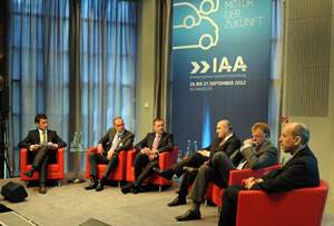 From left: Moderator Sacha Hingst; Akhat Urmanov, VP of Kamaz Trucks; Heinz-Jurgen Loew, president of Renault Trucks; Georg Pachta-Reyhofen, CEO of MAN; Andreas Renschler, head of Daimler Commercial Vehicles, and Norbert Holzer, senior VP of Iveco.