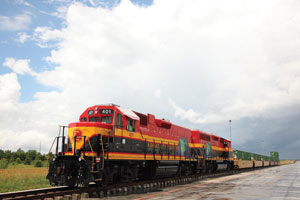 Norfolk Southern Railway and Kansas City Southern Railway have partnered to offer a 53-foot, rail-controlled container program between the U.S. and Mexico. (Photo courtesy of KCS)