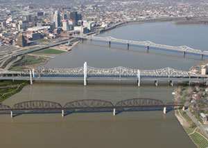 The new Downtown Bridge is shown in the middle adjacent to the Kennedy Bridge.