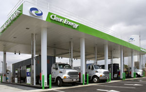 One of Clean Energy's LNG truck fueling stations in Port of Long Beach, Calif. (Photo by Clean Energy Fuels Corp.)