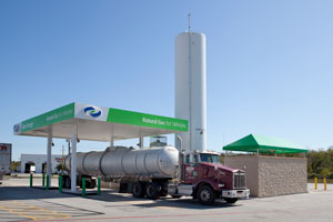 Clean Energy built a new LNG fueling station in Seville, Ohio. Above, one of Clean Energy's LNG stations in Baytown, Texas.