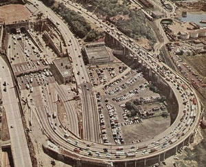 Lincoln Tunnel, New Jersey side approach and the Helix, circa 1955.