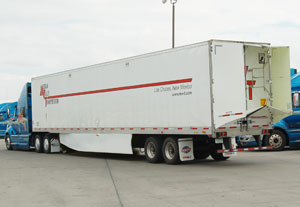 TrailerTail is a lightweight, thermoplastic composite fairing installed at the back of a tractor-trailer to streamline airflow behind the trailer, reducing aerodynamic drag and reducing fuel consumption.
