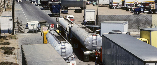 Trucks cross the border at Tijuana, Mexico. (Photo courtesy of Learn NC)