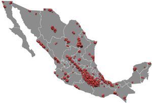 Above, a map of Mexico cargo theft incidents in 2011.