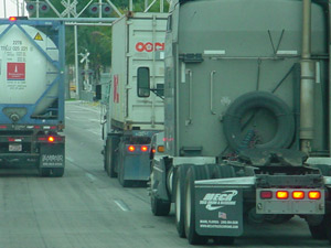 The Port of Miami says port trucks clog downtown streets. Photo courtesy of Port of Miami Tunnel Project