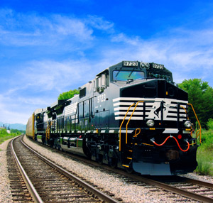 Since 1990, rail fuel efficiency has improved by about 20 percent, or 1.1 percent per year. Photo courtesy of Norfolk Southern