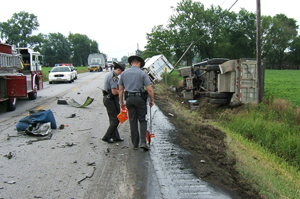 FMCSA's CSA methodology changes did not include a new process for the agency to make crash accountability determinations before crashes are entered and used in the CSA 2010 safety measurement system. (Photo by Ohio State Highway Patrol)