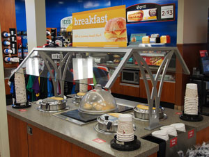 Breakfast bar ready for customers at Flying J Travel Plaza at Watt Road in Knoxville, Tenn.
