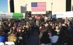 At a UPS facility in Las Vegas, President Obama's podium included two of UPS's Kenworth T800 LNG trucks.