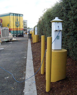 Jubitz Travel Center in Portland, Ore, has been providing Shorepower electrified parking spaces since 2008.