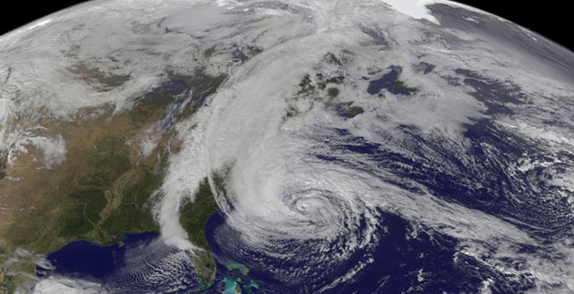 This is how Sandy looked at 1:45 p.m. EDT Sunday, heading toward the New Jersey coast.
