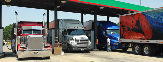 Truckers in most regions of the country saw slightly higher diesel prices this week, except for the Rocky Mountain region. (Photo by Jim Park)