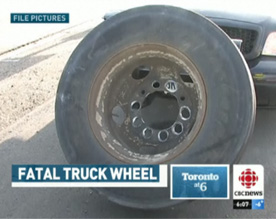 The wheel suspected to be involved in Thursday's fatal wheel-off incident, showing elongated stud holes, indicating loose wheel nuts. Photo from CBC.