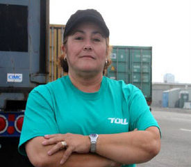 Teamsters organizers said Xiomara Perez, a union supporter, was unfairly fired for taking an emergency bathroom break. (Photo courtesy Clean and Safe Ports)