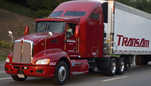 Trucks, such as this reefer operated by TransAm, can provide an efficient way to get agricultural products delivered. (Photo courtesy of Kenworth)