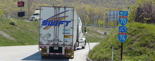 Truck entering Pennsylvania Turnpike (photo by Ben Schumin).