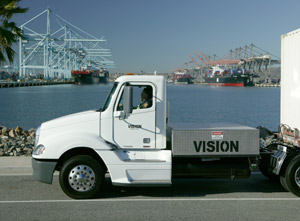 Vision Industries Class 8 zero-emission hydrogen fuel cell hybrid-electric truck at the Port of Los Angeles. (Photo courtesy of Business Wire)