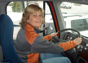 Voie, who has worked with truck drivers her whole career (and was married to one), recently earned her own CDL.