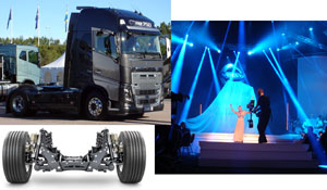 During an extravaganza gala event in Gothenburg, Sweden, the new Volvo FH was introduced, featuring the Volvo Independent Front Suspension system with rack and pinion steering.