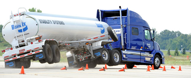 The NTSB says stability control systems, like this one demonstrated by Bendix, should be required on tanker trailers.