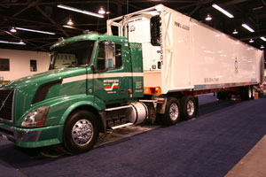 Cold Train refrigerated domestic container was so new at the IANA show in December that the fuel tank still had to be fitted. (Photo by STF)
