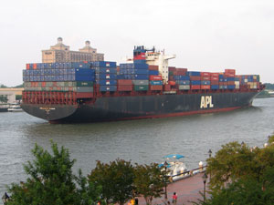 Container traffic at East and Gulf Coast ports like the Port of Savannah would be affected by a strike. (Photo by Evan Lockridge)