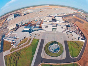 Daimler's new Indian production plant, an investment of 44 billion Indian rupees (more than $900 million), is almost 400-acres.