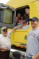The late Darrell Hicks, left, was active in groups such as Trucker Buddy International.